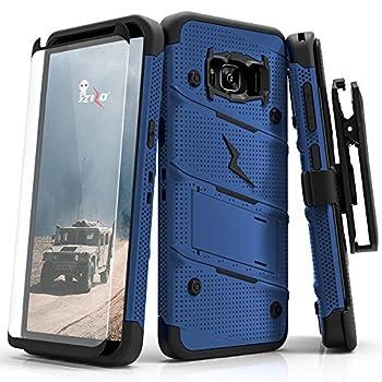Samsung Galaxy S8 Case Zizo [Bolt Series] w/ [Galaxy S8 Screen Protector] Kickstand [12 ft Military Grade Drop Tested] Holster Belt Clip - Galaxy S8 Blue/Black