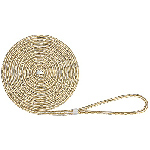 """Extreme Max 3006.2132 BoatTector Double Braid Nylon Dock Line - 5/8"""" x 25', White & Gold"""