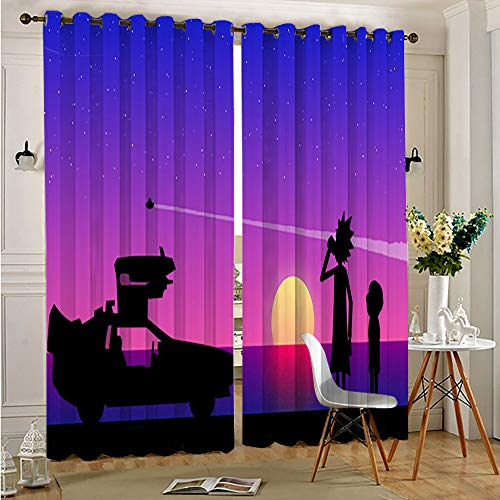 "Rick and Morty Vaporwave Rick and Morty Window Drapes Grommet Curtains for Living Room Grommet Thermal Insulated Window Darkening Curtains for Living Room 42""x54"""