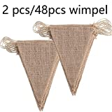 [page_title]-DAHI Wimpelkette 2 stücke Vintage Wimpel Banner Wimpel Girlande mit 48 Stück Dreiecksflaggen für Hochzeit,Party (braun)