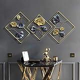 Anjur Metall Wanddekoration Wanddeko 3er-Set, Golden Ginkgo Biloba Wandbehang Skulpturen für Wohnzimmer Schlafzimmer Badezimmer Küche Büro