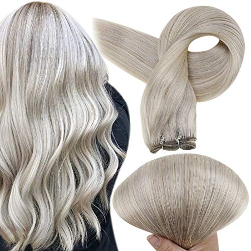 Full Shine Sew In Human Hair Weft Bundles 20 Inch Remy Hair Bundles For White Women Weave In Human Hair Extension 100 Grams Per set 19 Grey Silver And 60 Platinum Blonde Hair Weft