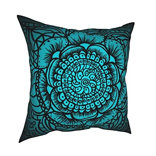 Fundas de almohada decorativas de mandala verde azulado y negro, fundas de almohada personalizadas para sofá, dormitorio, coche, accesorios para el hogar 50 x 50 cm