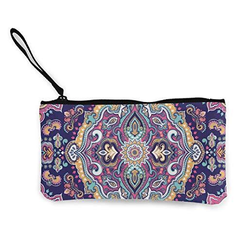 Flyup Boho-Stil Mandala Figuren Festliche Reißverschluss Leinwand Geldbörse Brieftasche, Schminktasche, Handytasche mit Griff