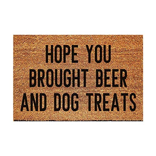 FAGGMY Funny Hope You Brought Beer and Dog Treats Entryway Outdoor Floor Mat with Heavy-Duty PVC...