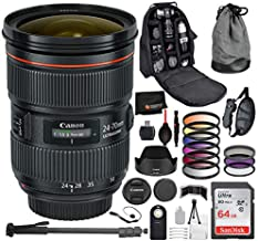 Canon EF 24-70mm f/2.8L II USM Lens 5175B002 with Professional Bundle Package Deal Kit for EOS 7D Mark II, 6D Mark II, 5D Mark IV, 5D S R, 5D S, 5D Mark III, 80D, 70D, 77D, T5, T6, T6s, T7i, SL2