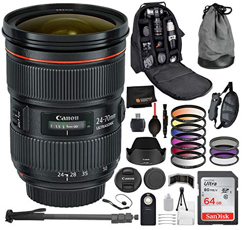 Canon EF 24-70mm f/2.8L II USM Lens 5175B002 with Professional Bundle Package Deal Kit for EOS 7D Mark II, 6D...