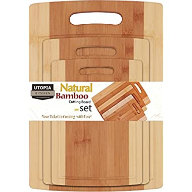 Bamboo Cutting Board 3 Piece Set - Extra Durable - Better Than Ordinary Wood Cutting Boards - Large, Medium and Small Bamboo Cutting Boards for Bread, Vegetables, Chicken - By Utopia Kitchen