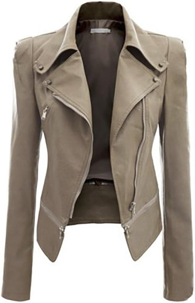 QZUnique Women's Faux Leather Zipper Motorcycle Bomber Biker Outwear Jacket