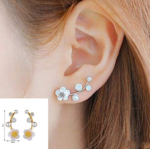 Sassy Bee Dainty Cute Cherry Blossom Crystal Pearl Flower Earrings TM product image