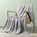 Exclusivo Mezcla Brushed Diamond Check Large Flannel Fleece Throw Blankets (Light Grey, 50' x 70')-Soft, Warm and Lightweight