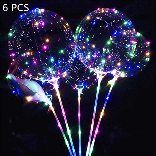 WeyTy 6 Stücke Luftballons, Led Helium Ballons mit Ständer, Leuchtende Luftballons, Imfactory Led Ballon Bunt, Magic Bobo Ballons, Leuchtballons für Hochzeit Deko, Geburtstage, Party, Dekoration
