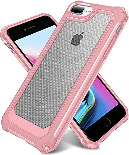 """iPhone 8 Plus Case, iPhone 7 Plus Case, SUPBEC Slim Carbon Fiber Shockproof Protective Cover with Screen Protector [x2] [Military Grade Drop Protection] [Anti Scratch&Fingerprint], 5.5"""", Rose Gold"""