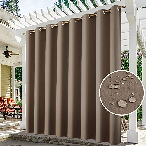 HOMEIDEAS Tan Outdoor Curtains for Patio Waterproof Extra Wide, 100 X 84 Inch Blackout Outdoor Curtains, Thermal Insulated Coffee Outdoor Patio Curtains for Porch/Pergola/Pool, 1 Panel