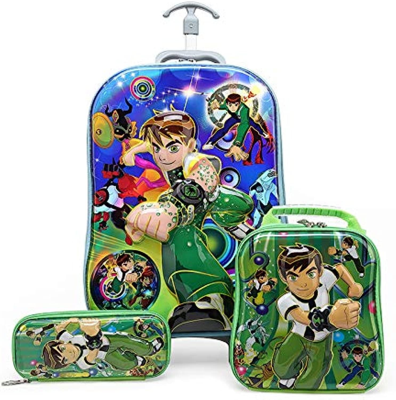 QAZZ - Zaino per bambini con ruote, trolley da viaggio, borsa per la scuola, zaino per bambini con ruote 9