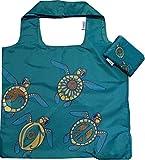 Chilino Faltbare Einkaufstasche, groß und stabil, umweltfreundlich, Schildkröte, grün, 47 x 41 cm