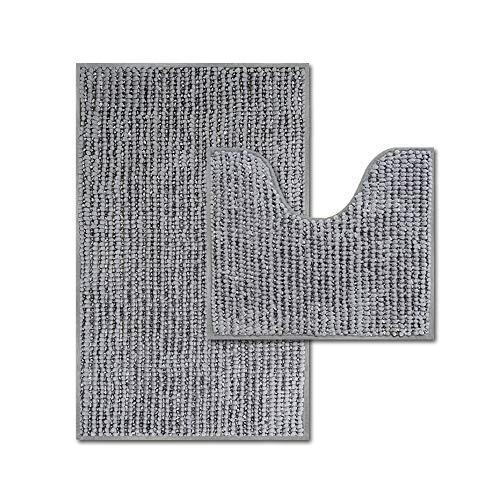 Sunshuiyue Badematten Set 2 Teilig, Chenille rutschfest Waschbare Badteppich 50X80 cm und U-förmig Toilette Badvorleger 50x40 cm (Grau)
