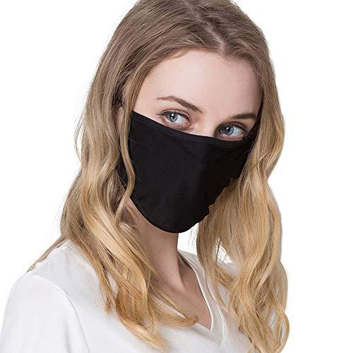 Unisex-Baumwoll-Maske, 3 Stück, doppelschichtig, Seide, atmungsaktiv, antibakteriell, Sonnenschutz, kälte- und staubdicht, Grau, schwarz