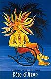 Poster Cote d'Azur Soleil Kunstdruck, Format 50 x 70 cm,