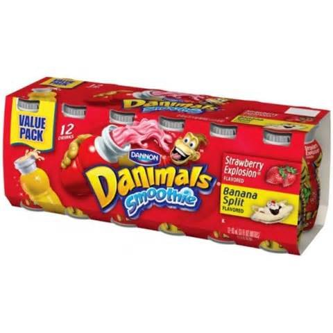 DANNON DANIMALS SMOOTHIES STRAWBERRY & BANANA 12 CT PACK OF 2