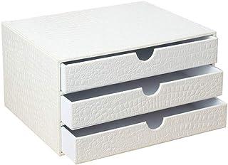 Folder - Leather Office Desktop Storage Box, Three-Layer White Desktop Drawer Folder, Storage Box A4 Data Cabinet Drawer Clip