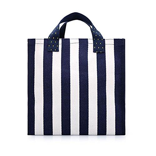 HM&DX Gestreifter canvas totes umhängetasche große handtasche wiederverwendbare lebensmitteleinkauf tasche travel strand turnhalle picknick camping -Dunkelblau groß
