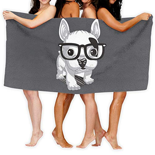 Cute Frenchie Puppy Soft Beach Towel Bathroom Towel Swimming Pool Towel for Adults