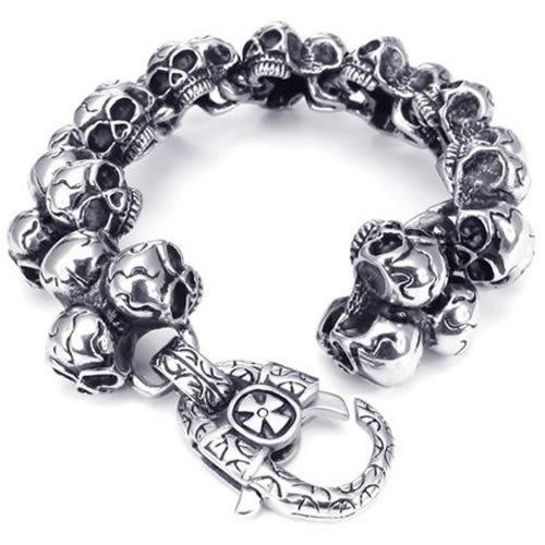 Konov - Pulsera brazalete de acero inoxidable para hombre, diseño gótico y tribal de calaveras, incluye bolsita de regalo, color plateado y negro.