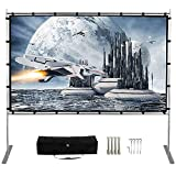 Projector Screen with Stand,120 Inch (16:9) HD 4K Outdoor Indoor Portable Projection Screen Fast Folding Movie Screen with Stand Legs and Carry Bag Suit for Home Theater 3D Camping Meet (120inch-FBA)