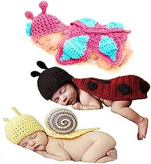 Babyhaven Newborn Baby Crochet Photography Prop Costume, 3 Pack, Snail/Ladybug/Butterfly