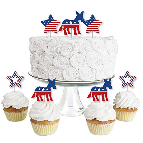 Election Democrat - Dessert Cupcake Toppers - Democratic Political 2020 Election Party Clear Treat Picks - Set of 24