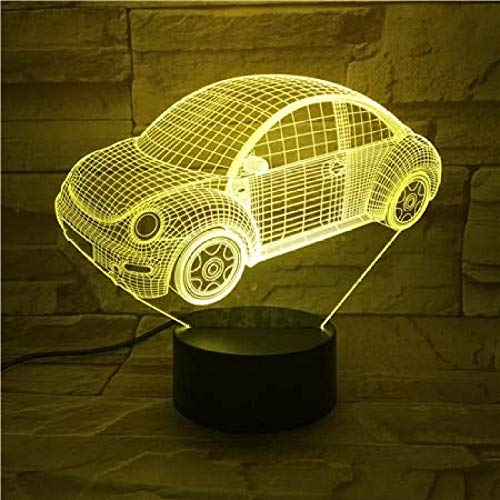 TIANXIAWUDI 3D Beetle Classic Car Lights Cool Kids Child Battery Powered Desk Decorating Colorful U Remote Night Lights