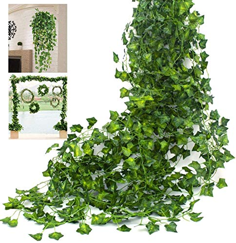 HAODA Artificial Plant, Artificial Hanging Plant, Silk Ivy Leaves, Green Garland for Wedding, Kitchen, Wall, Outdoor Areas, Party, Celebrations, Decoration, 12 Pieces of Green,Christmas Decoration