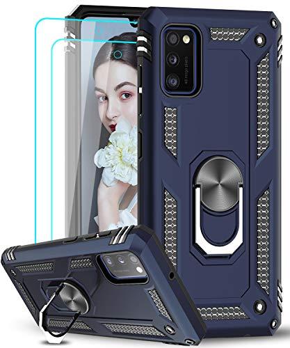 LeYi Funda Samsung Galaxy A41 con [2-Unidades] Cristal Vidrio Templado,Armor Carcasa con 360 Grados Anillo iman Soporte Hard PC Silicona TPU Bumper Antigolpes Case para Movil A41,Azul