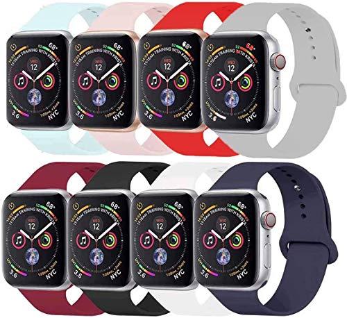Tervoka Ersatz Armbänder für Watch Armband 44mm 42mm, Weiche Silikon Ersatz Armbänder für iWatch Armband Series 6/5/4/3/2/1, M/L, 8Pack
