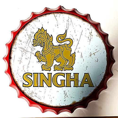 SKYNINE INC Vintage Fles Cap Tin Teken van Singha Bier Wanddecoratie Tin Tekenen Voor Lounge/Bar/Cafe/Home Keuken/Restaurant/Dorm/Garage/Man Grot/Gas Station Grootte: 13,8 inch met Rode Rand.