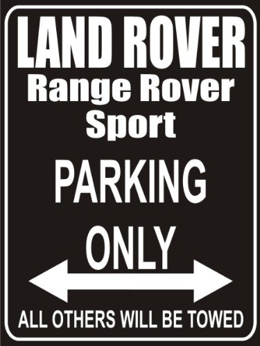 INDIGOS UG - Parking Only - Land Rover Range Rover Sport - Garage/Carport - Parkplatzschild 32x24 cm schwarz/Silber - Alu-Dibond - Folienbeschriftung