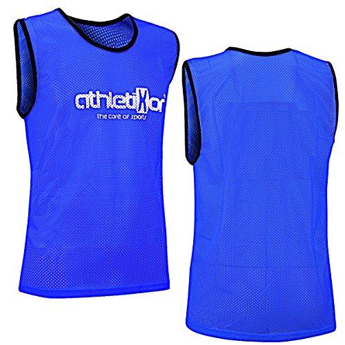 athletikor 10 Fußballleibchen - Trainingsleibchen - Leibchen - Markierungshemden (Blau, Bambinis/E Jugend S: 50X44CM)