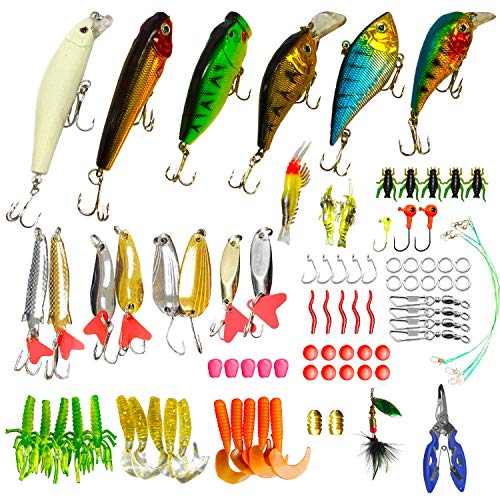 WDG 85Pcs Fishing Lures Kit, Bass Trout Fishing Baits Accessories Including Lures Hook, Plastic Worms, CrankBait, Topwater Lures, Fishing Pliers Scissors