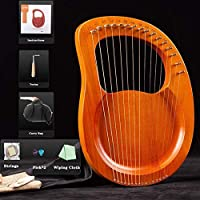19弦の小さなハープの金属弦マホガニーLyeハープ、初心者の音楽愛好家のための鍵と黒のギグの袋の大きな贈り物 (Color : Yellow)