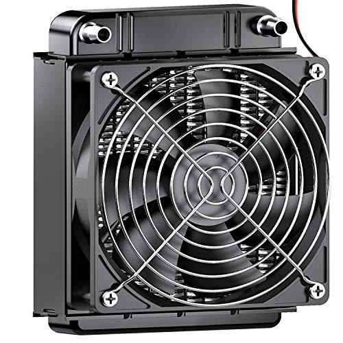 Clyxgs Wassergekühlter Kühler, 8-Rohr-Aluminium-Wärmetauscher-Kühler mit Lüfter für PC-CPU-Computer-Wasserkühlsystem DC12V 80mm