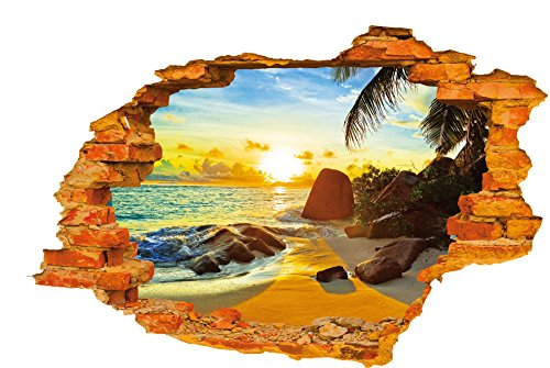 3D Sunrise Beach Sea Ocean Broken Wall Sticker Stone and Coconut Tree