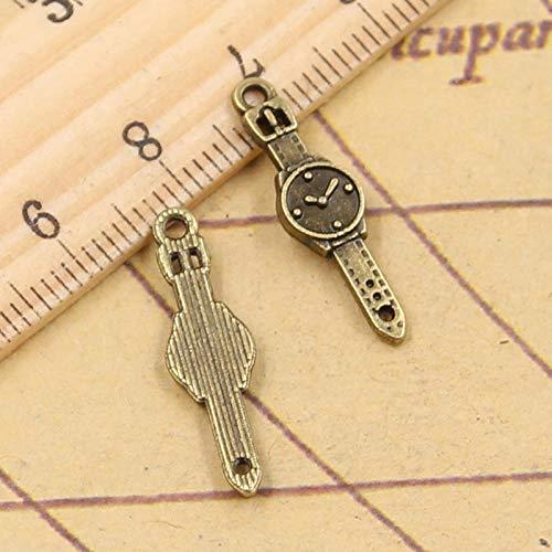 WANM 40 Uds Reloj con dijes 24x6mm Bronce Tibetano Color Plata Colgantes artesanías Haciendo hallazgos joyería DIY Antigua Hecha a Mano