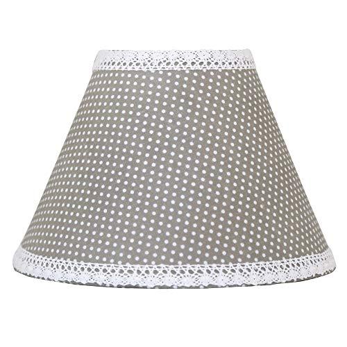 Kleiner Lampenschirm JONNA grau weiß Punkte mit Spitzenband Tischlampe Landhaus