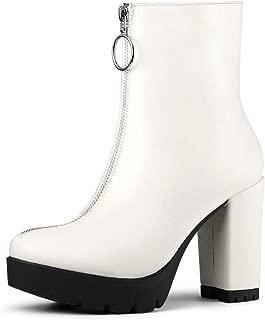 Women's Platform Front Zip Chunky Heel Ankle Boots