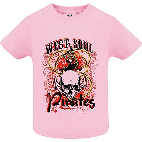 LookMyKase T-Shirt - West Soul Pirates - Bébé Fille - Rose - 12mois