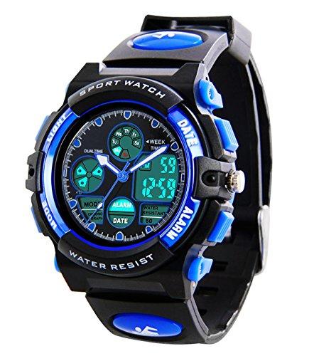Kinder Digital Sportuhren - Jungen wasserdichte Sportuhr mit Wecker Stoppuhr, analoge LED Armbanduhr mit Chronograph Wecker für Kinder Uhren (1163)