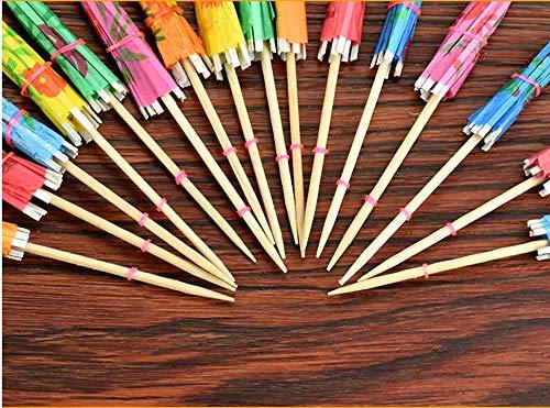 Cocktail Dekoration Papier,50 Stück Cocktail Picks Papier-Regenschirm für Bar Deko Cocktailzubehör Fiesta,Tropical Oder Beach Parties - 4