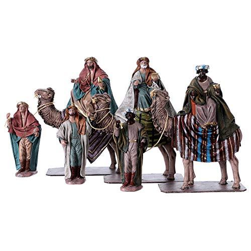 Holyart Statue Re Magi su Cammello con cammellieri 14 cm Stile Spagnolo