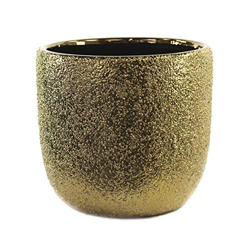 DARO DEKO Keramik Pflanz-Gefäß rund Ø 17cm x 15cm Gold